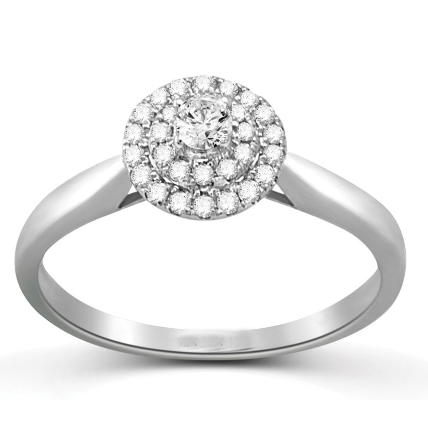 Fancy Halo Cheap Engagement Ring 0 50 Carat Round Cut Diamond on Gold JeenJ