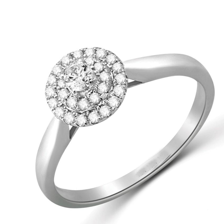 Fancy Halo Cheap Engagement Ring 0 50 Carat Round Cut Diamond on Gold JeenJ