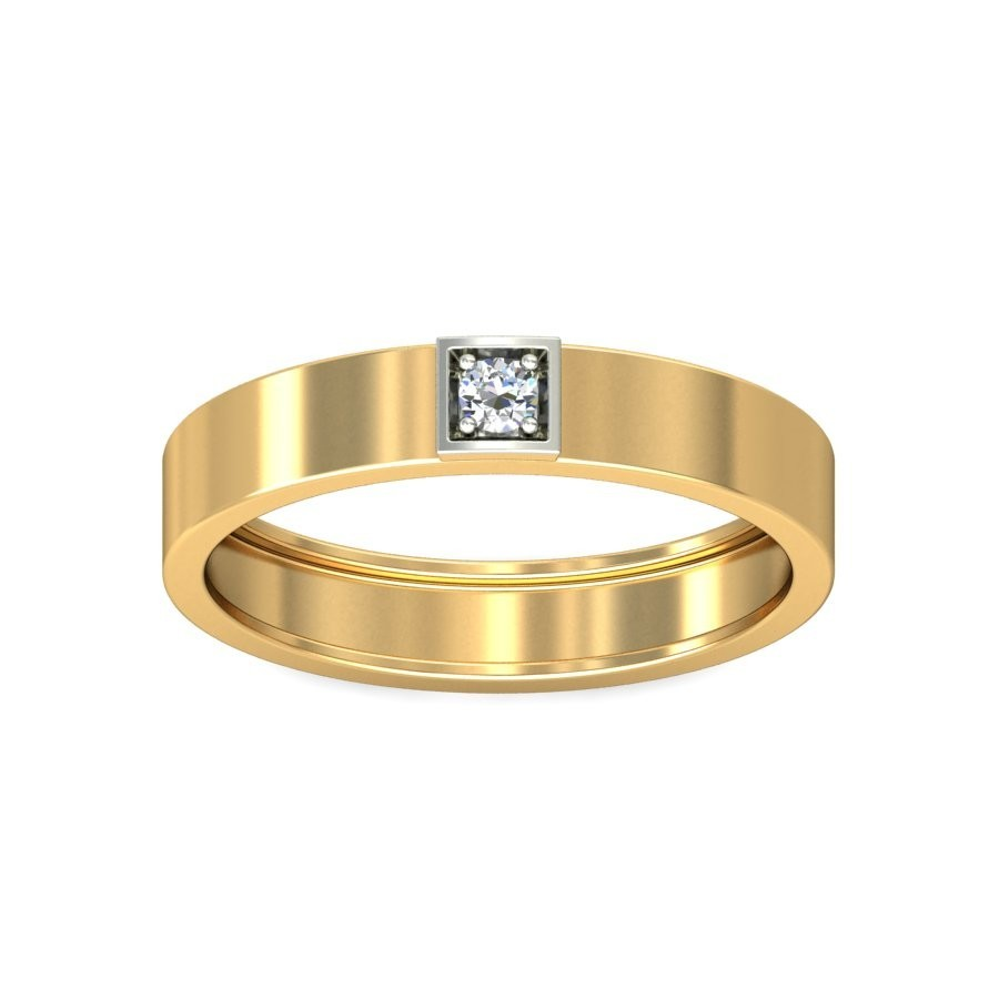 Mens Diamond Solitaire Wedding Band In Yellow Gold