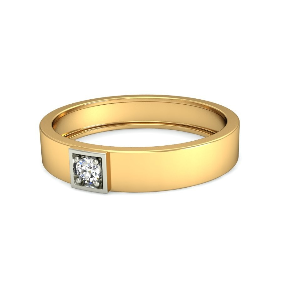 mens solitaire wedding band in yellow gold