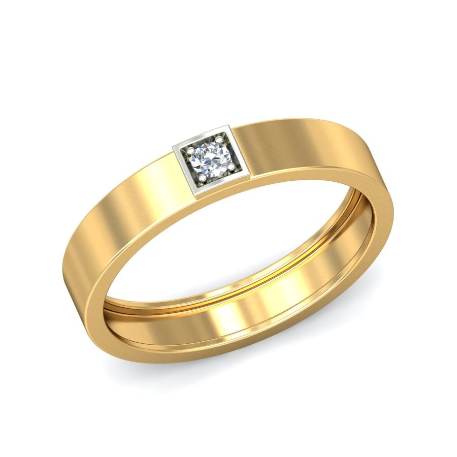 new products mens diamond solitaire wedding band in yellow gold