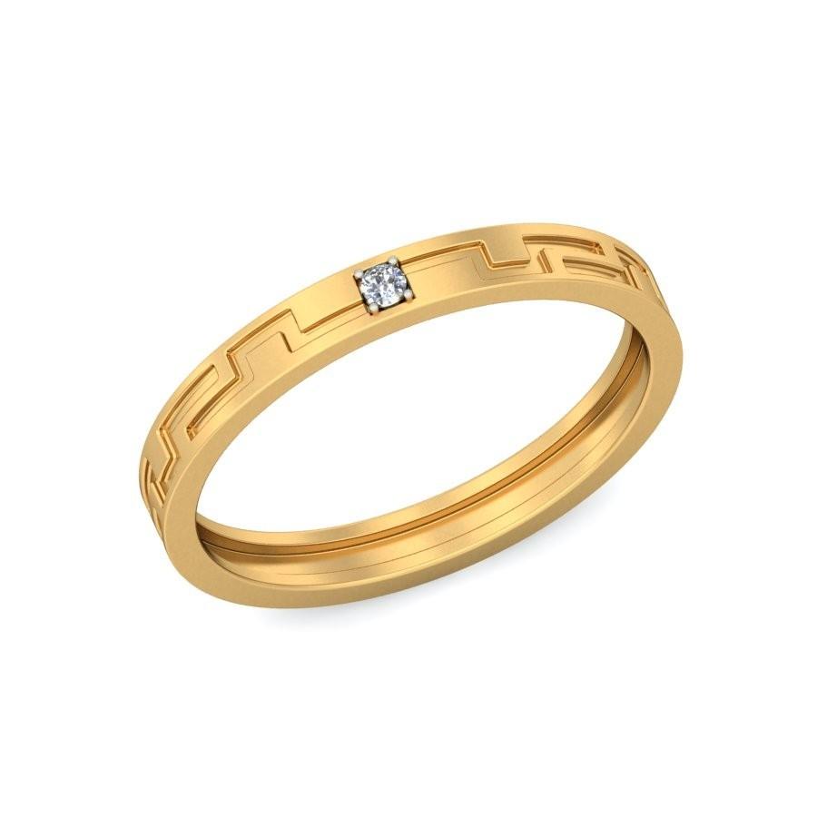designer diamond wedding ring band unisex in yellow gold