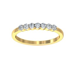 Beautiful Prong Set Round Diamond Wedding Band in Yellow Gold