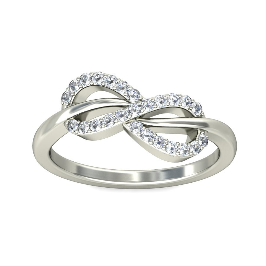 Sparkling Infinity Ring Diamond Engagement ring 025 Carat Round Cut