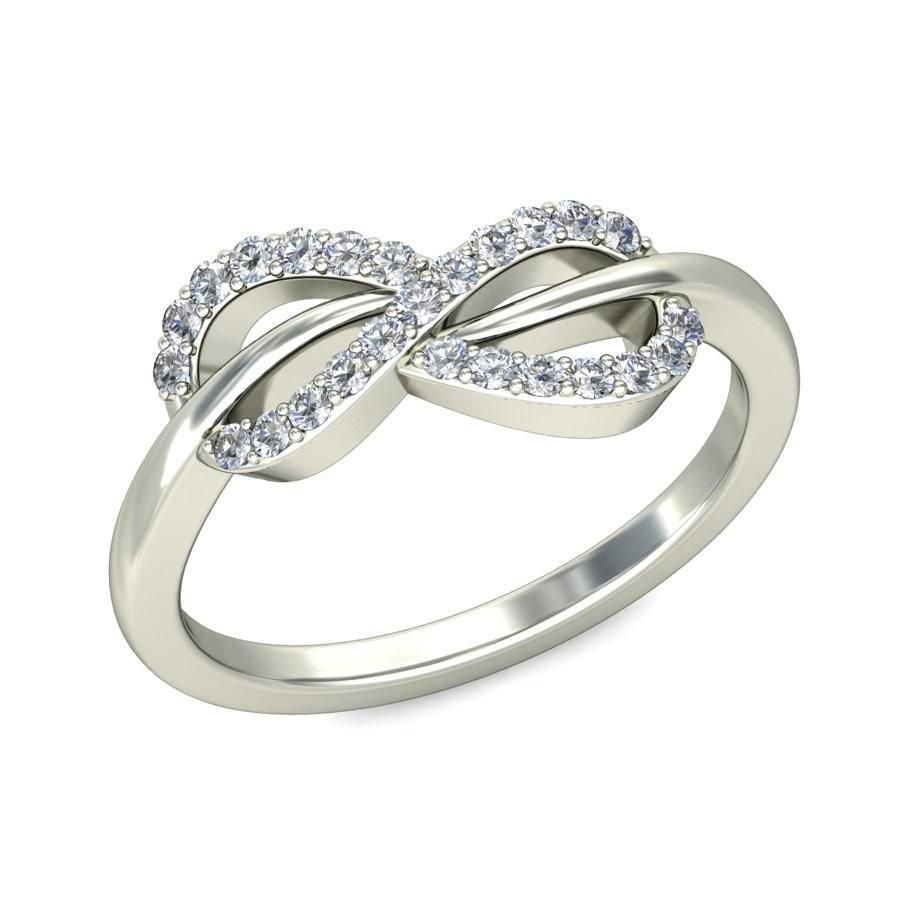 Infinity Design Round Diamond Engagement Ring In White Gold