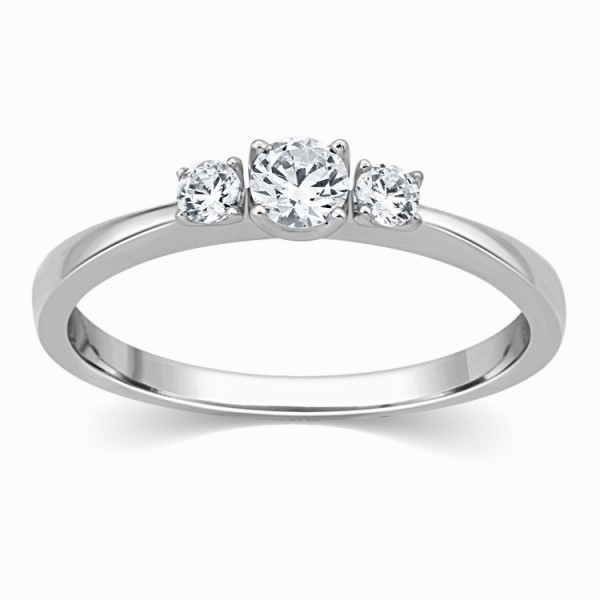 Three Stone 1/4 Carat Trilogy Round Diamond Engagement Ring