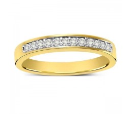 Pave set Round Diamond Wedding Band in Yellow Gold