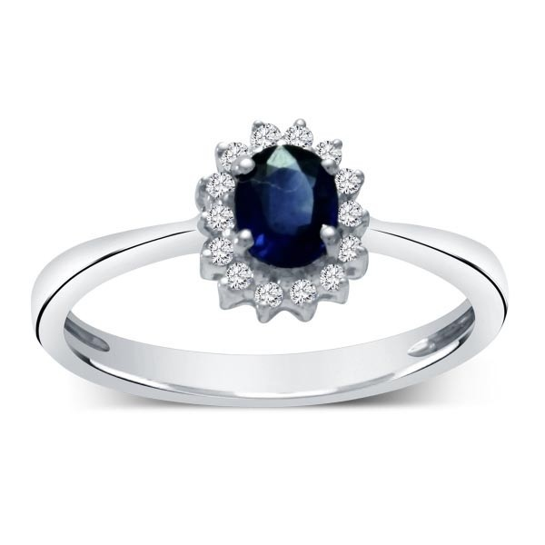 Sapphire and Diamond Halo Engagemen Ring for Her in White Gold
