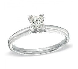 1/4 Carat Princess Solitaire Diamond Engagement Ring in White Gold