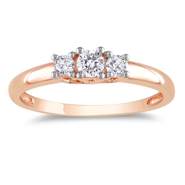 Inexpensive 1/4 Carat Three Stone Rose Gold Engagement Ring ...