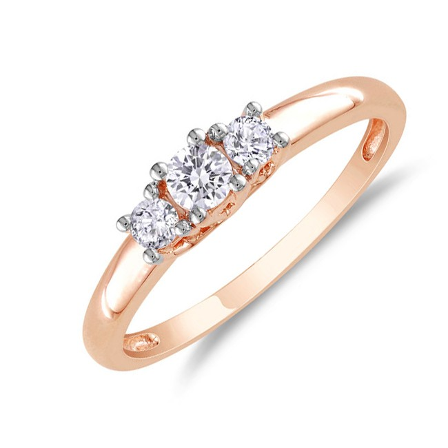 inexpensive 14 carat three stone rose gold engagement ring - Inexpensive Wedding Rings