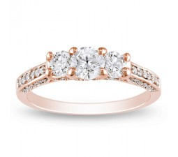 1 Carat Trilogy Rose Gold Diamond Engagement Ring