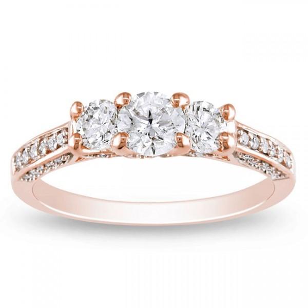 1 Carat Trilogy Rose Gold Diamond Engagement Ring