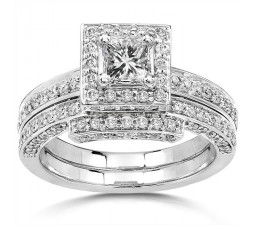 2 Carat Halo Diamond Bridal Set for Her In 14k White Gold