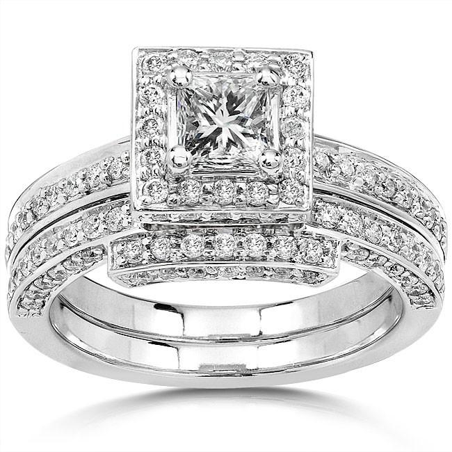 2 carat halo diamond bridal set for her in 14k white gold - Diamond Wedding Ring Sets For Her
