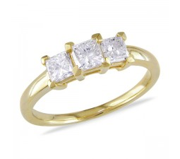 Three Stone Princess Trilogy Ring in Yellow Gold