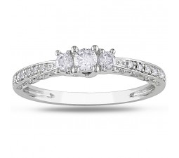 Round Trilogy Diamond Engagement Ring in White Gold