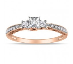 Princess Trilogy Diamond Engagement Ring in Rose Gold