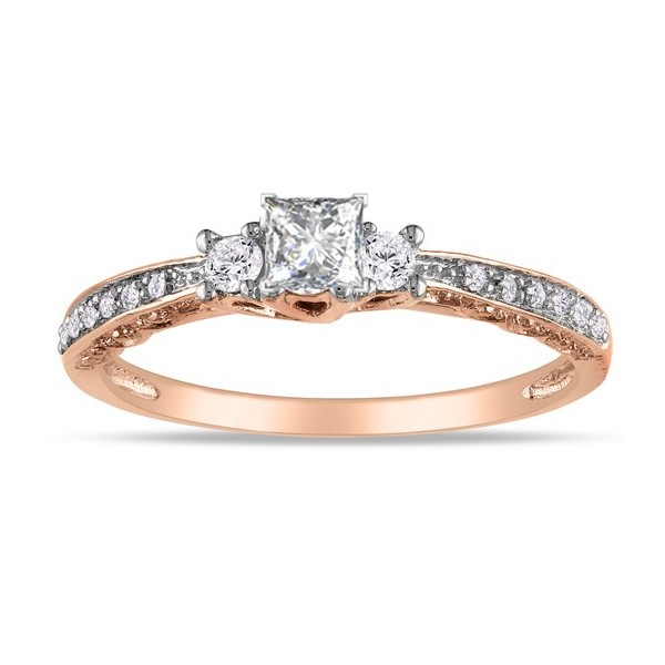 Princess Trilogy Diamond Engagement Ring in Rose Gold