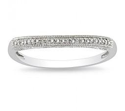 Antique Design Diamond Wedding Ring Band in 10k White Gold