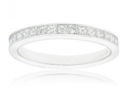 Stylish 1 Carat Channel Set Princess Cut Diamond Wedding Ring for Her