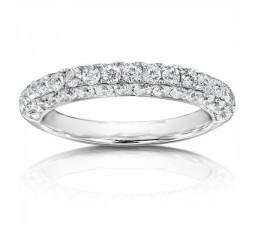 Luxurious Three Row Diamond Wedding Band in 14k White Gold