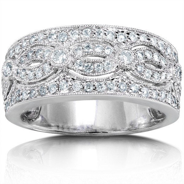 Stunning Huge Round Diamond Wedding Band for Her in White Gold JeenJewels