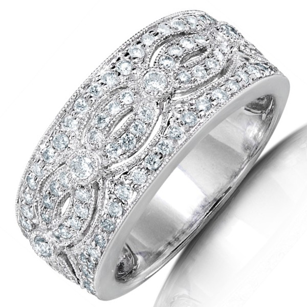 stunning huge round diamond wedding band for her in white gold - Wedding Ring Bands For Her