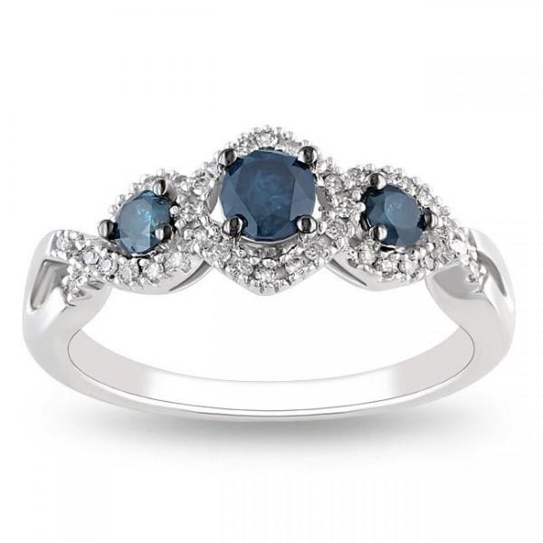 Three Stone Sapphie and Diamond 1 Carat Engagement Ring