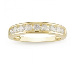 Half Carat Affordable Round Diamond Yellow Gold Wedding Band