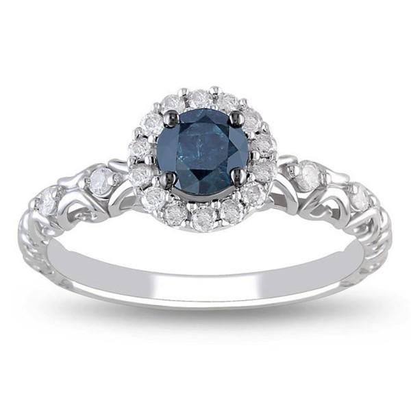 Precious Sapphire and Diamond Cheap Engagement Ring 0 75 Carat Diamond on Gol