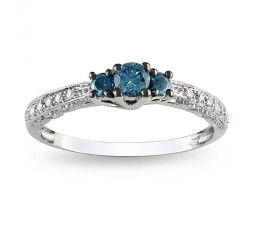 Lustrous Sapphire and Diamond Cheap Engagement Ring 0.50 Carat Diamond on  White Gold
