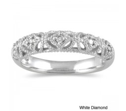Antique diamond Wedding Ring Band in White Gold