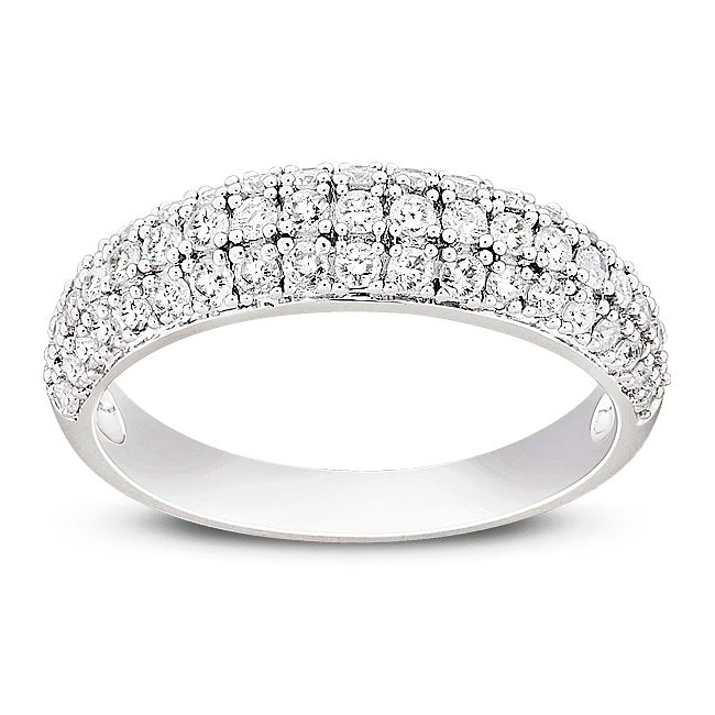 Three Row beautiful 12 Carat Round Diamond Wedding Band JeenJewels