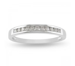 Channel set Round Diamond Wedding Ring in White Gold