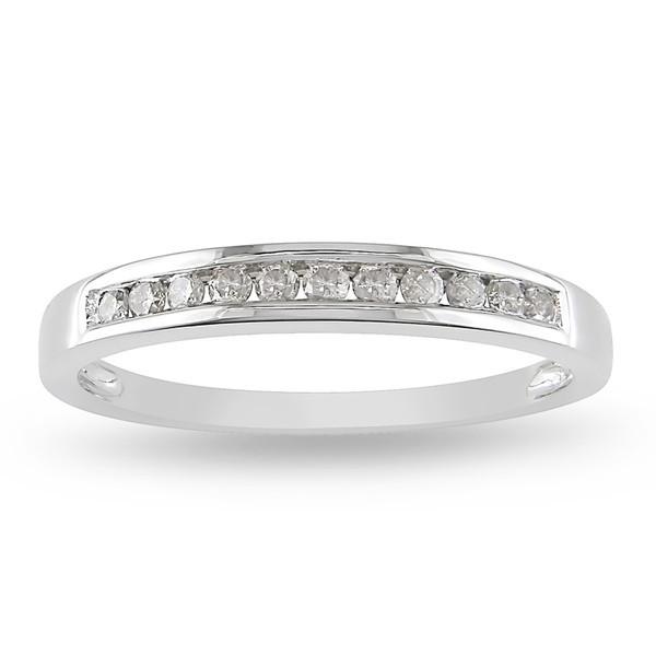 Channel set Round Diamond Wedding Ring in White Gold