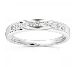 Half Carat Princess Channel Set Wedding Ring Band in 10k White Gold