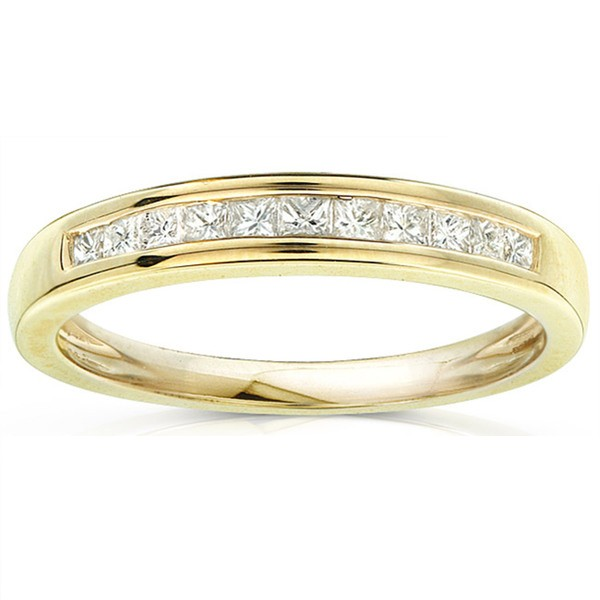 Half Carat Princess Channel Set Wedding Ring Band In 10k Yellow Gold