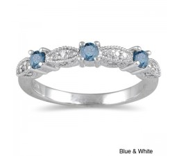 Sapphire and Diamond Wedding Ring Band in White Gold
