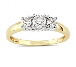 Three Stone 1 Carat Round Diamond Ring in Yellow Gold