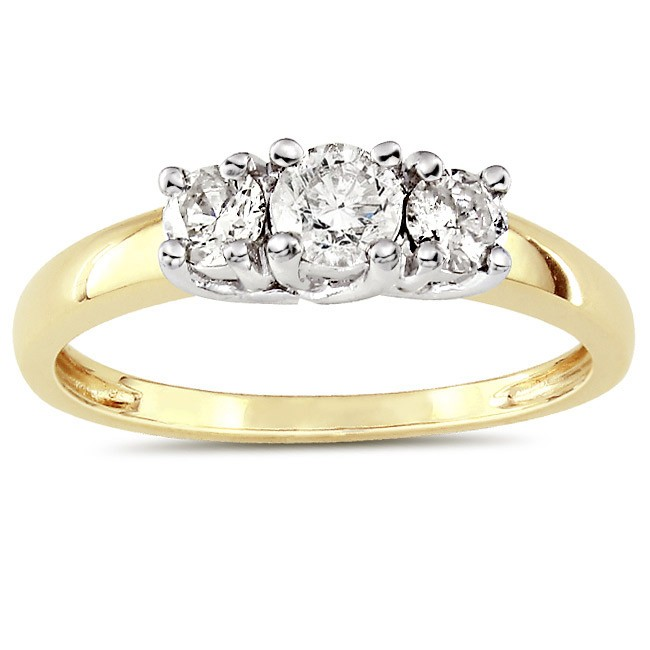 c7667d8eaa8d2 Luscious Three Stone Trilogy Diamond Engagement ring 1 Carat Round ...
