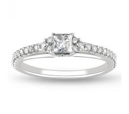 Princess Diamond Vintage Design Engagement Ring in White Gold