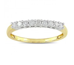 Round diamond Wedding Ring Band in Yellow Gold