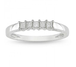 5 Stone Princess diamond Wedding Band in White Gold