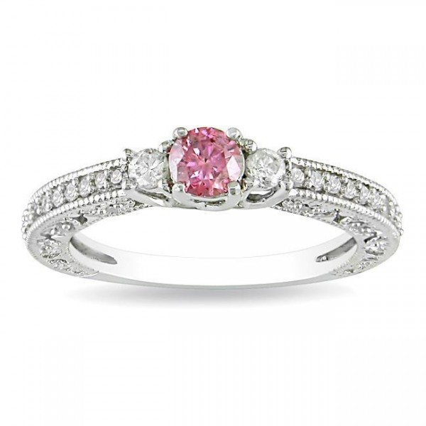 Pink Sapphire with Diamond Three Stone Engagement Ring
