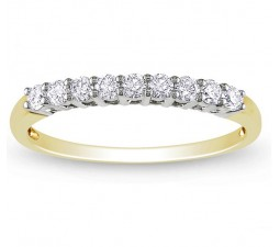 Prong Set Round Diamond Wedding Ring Band in Gold