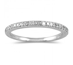 Pave set Round Diamond Wedding Ring Band for Her in White Gold