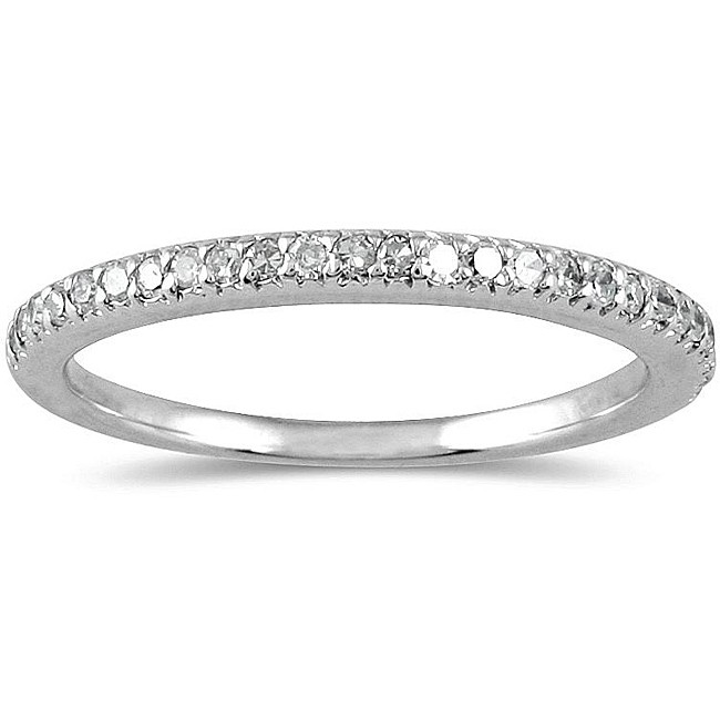 pave set round diamond wedding ring band for her in white gold - White Gold Wedding Rings For Her
