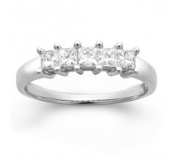 5 Stone Princess Diamond Wedding Band for Her in White Gold