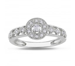 Antique design Affordable Diamond Engagement Ring in White Gold